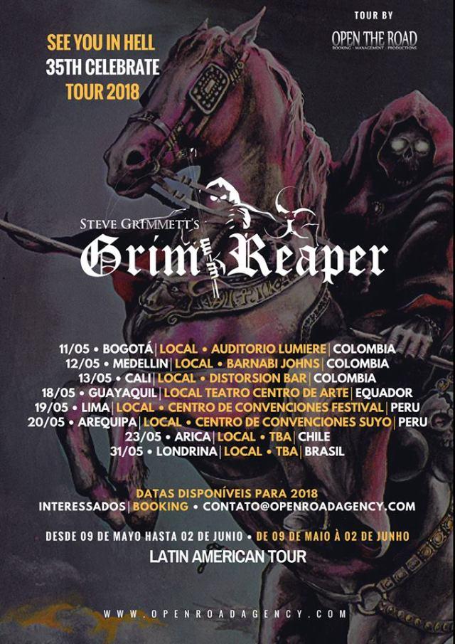 Afiche GRIM REAPER latinoamerica 2018 - Steve Grimmett's Grim Reaper regresa a Colombia en 2018