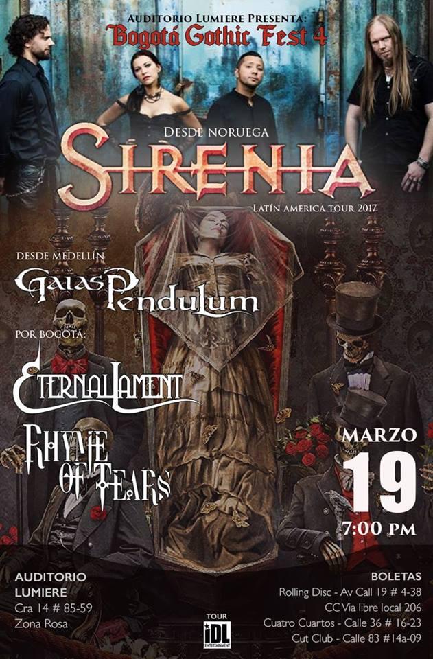 Bogotá Gothic Fest 4 – SIRENIA en Colombia