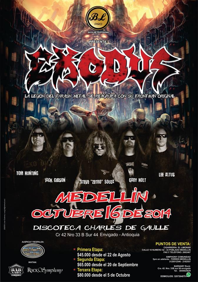 Exodus Medellin 2014 - EXODUS confirma nueva fecha en Colombia para el 2014 - Medellín, Octubre 16