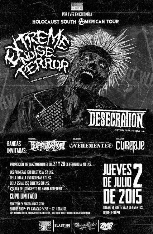 Extreme Noise Terror + Desecration en Colombia 2015