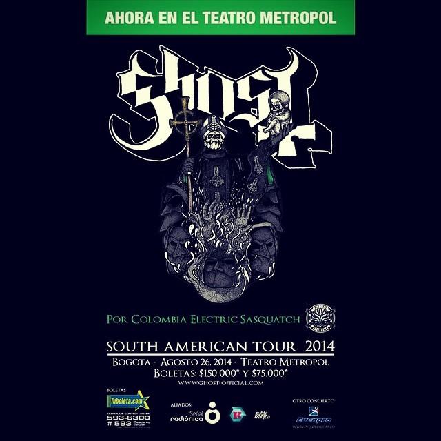 Ghost en Colombia Teatro Metropol - El show de GHOST en Colombia se pasa al Teatro Metropol