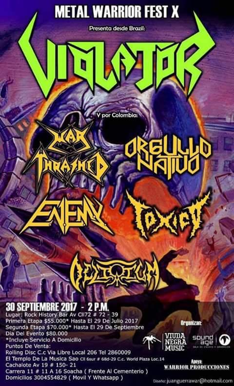 Metal Warrior Fest X Flyer - Metal Warrior Fest X - Desde Brasil VIOLATOR en Colombia 2017
