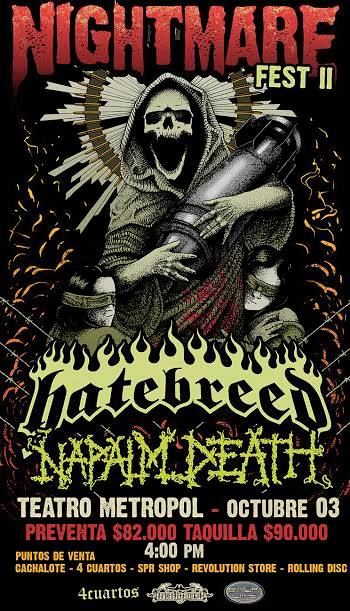 Nightmare Fest 2 HATEBREED & NAPALM DEATH juntos en Colombia