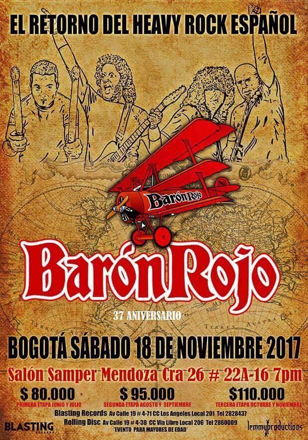 afiche baron rojo bogota 2017 - Fechas de BARÓN ROJO en Colombia para 2017