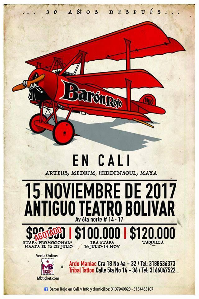 afiche baron rojo cali 2017 - Fechas de BARÓN ROJO en Colombia para 2017