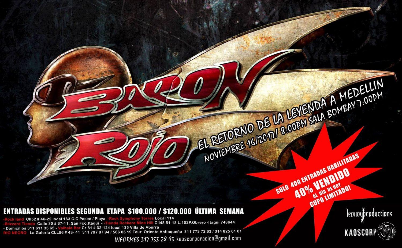 afiche baron rojo medellin 2017 - Fechas de BARÓN ROJO en Colombia para 2017