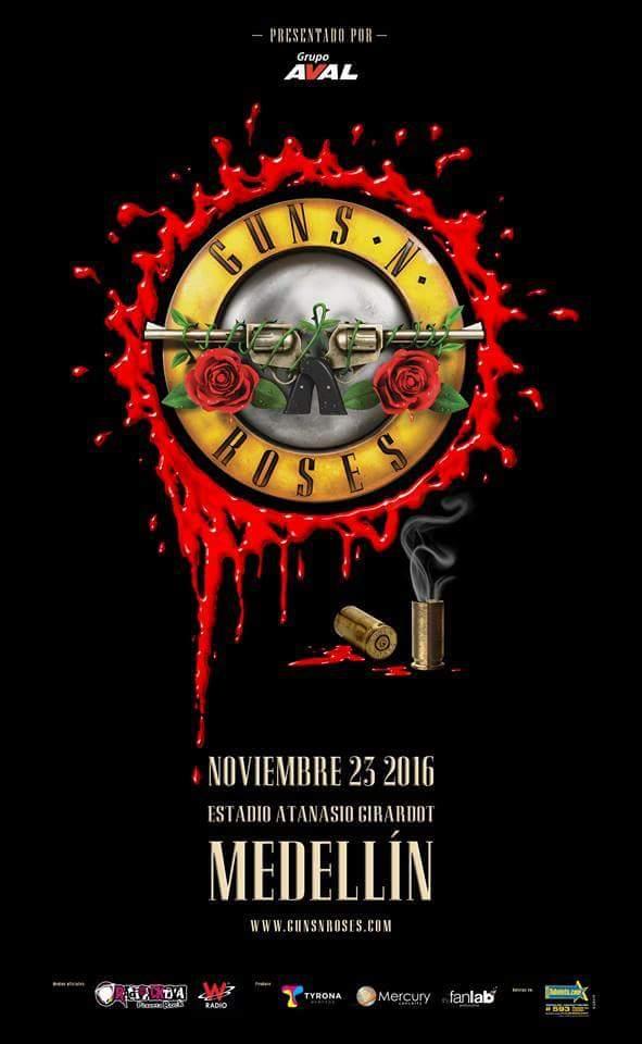 afiche guns n roses colombia 2016 factor metal - GUNS N' ROSES regresa a Colombia en 2016
