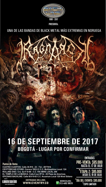 RAGNAROK junto a ANCIENT en Colombia – Bogotá, Septiembre 16 de 2017