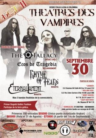 Asiste a los concierto de Theatres des Vampires, Moonspell y Hecate Enthroned por un precio especial