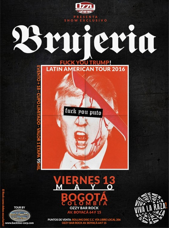 BRUJERIA regresa a Colombia en 2016 – Mayo 13 Ozzy Bar Bogotá