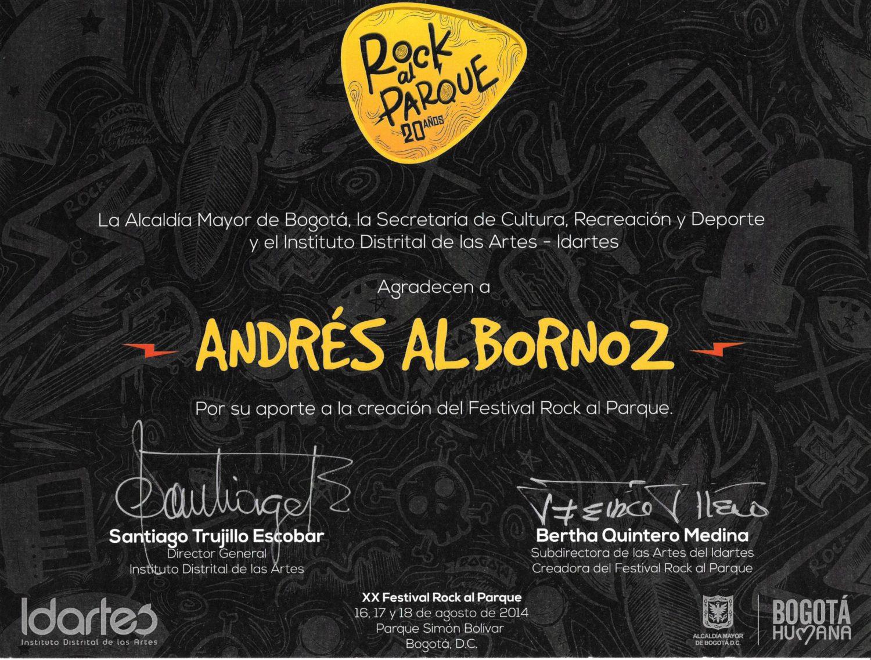 Foto: Agradecimiento por parte de Idartes por su aporte al crecimiento del Festival Rock al Parque