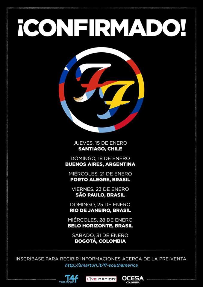FOO FIGHTERS confirma gira Sudamérica, Colombia Incluida