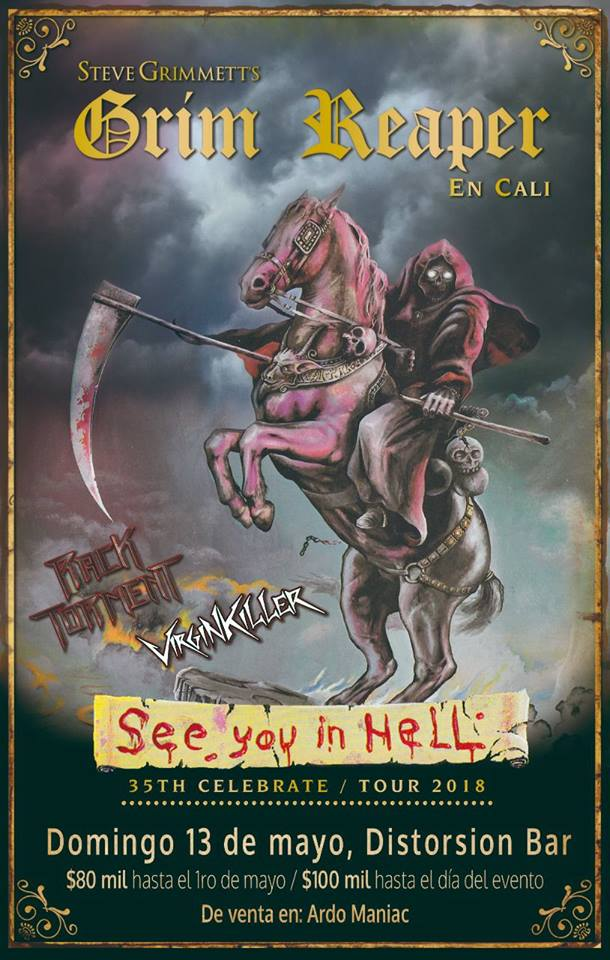 grim reaper cali colombia 2018 poster - Steve Grimmett's Grim Reaper regresa a Colombia en 2018