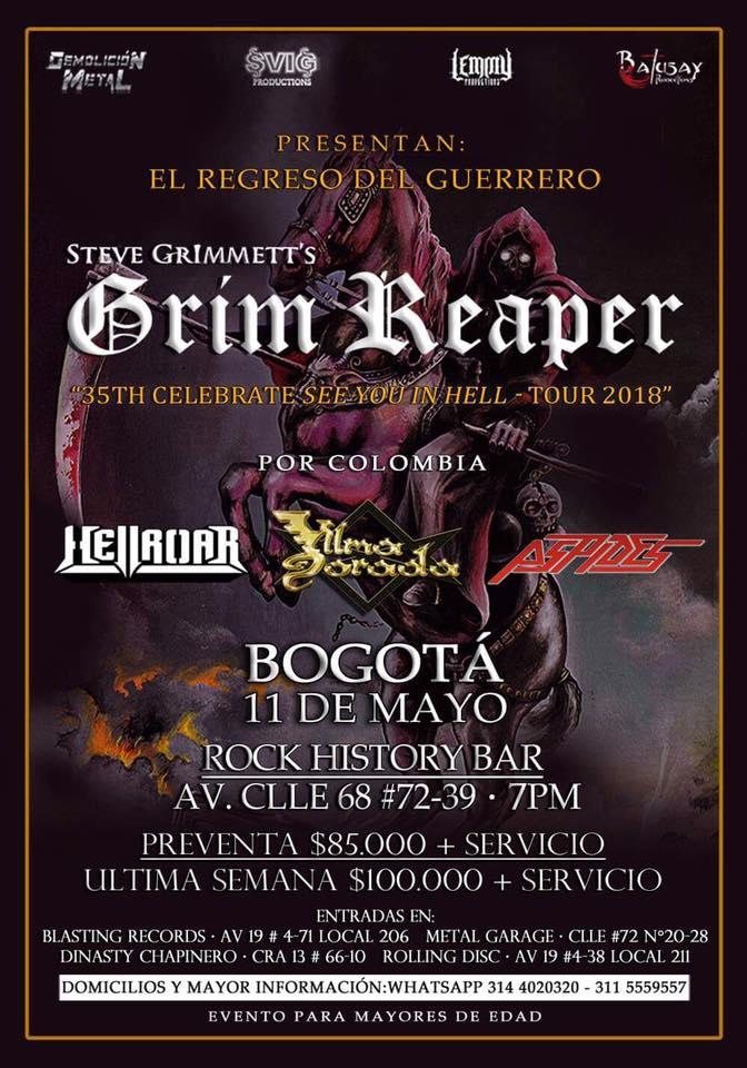 grim reaper colombia 2018 poster - Steve Grimmett's Grim Reaper regresa a Colombia en 2018