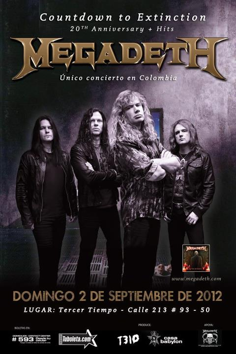 Megadeth en Colombia Septiembre 2 del 2012