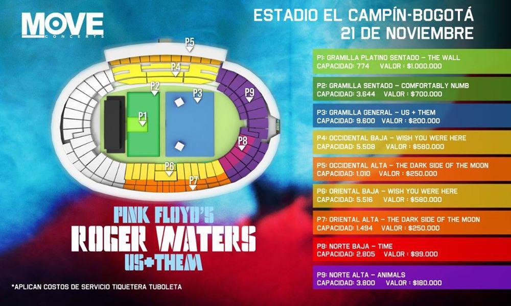 Detalles y Precios de boleteria para el concierto de ROGER WATERS en Colombia