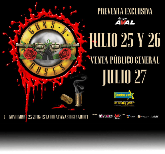 Ya hay fecha para la venta de boletas de GUNS N' ROSES en Colombia, Factor Metal