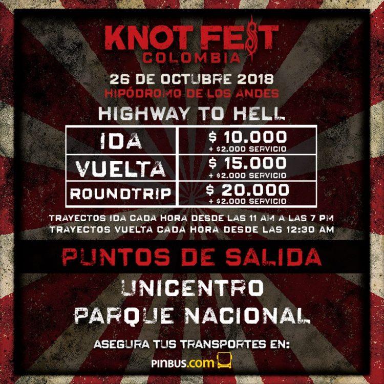 Opciones de transporte para el KNOTFEST COLOMBIA