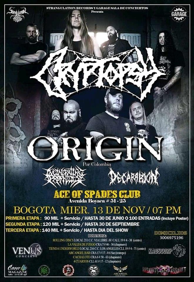 ORIGIN junto a CRYPTOPSY en Colombia – Bogotá, Noviembre 13 de 2019