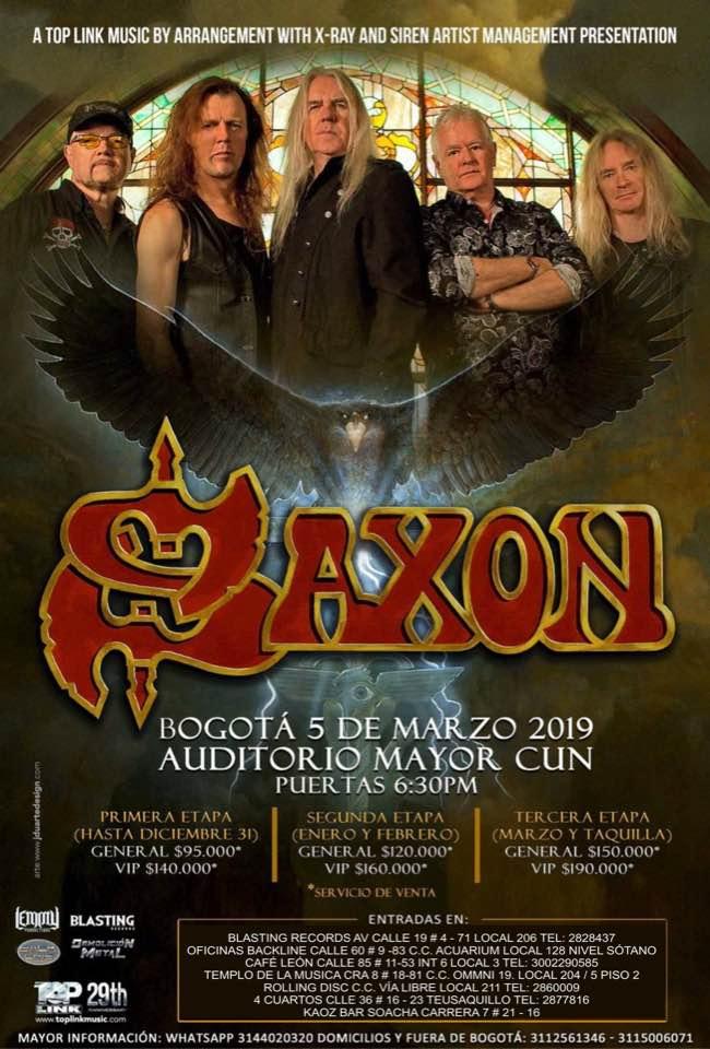 Confirmada la visita de SAXON a Colombia en 2019