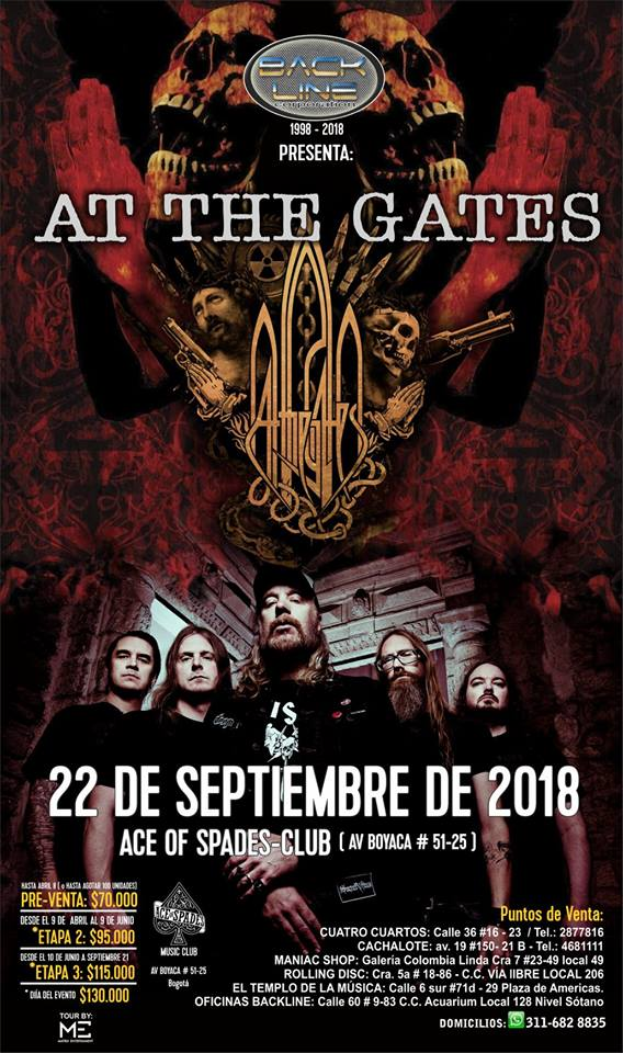 at the gates colombia 2018 poster - AT THE GATES regresa a Colombia en 2018 - Bogotá, Septiembre 22