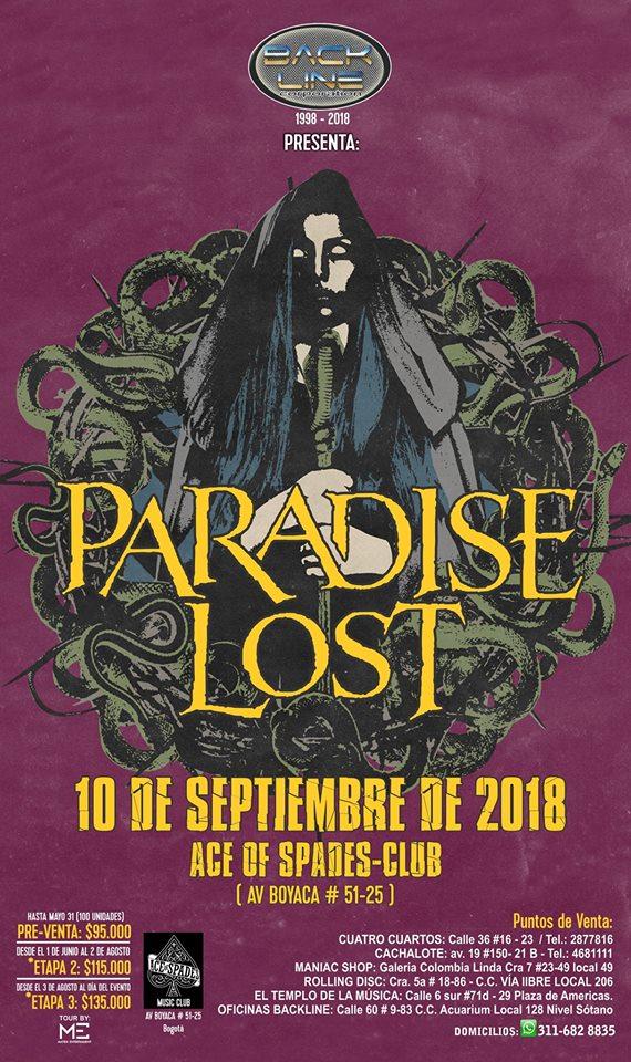 PARADISE LOST en Colombia – Bogotá, Septiembre 10 – Ace Of Spades Club